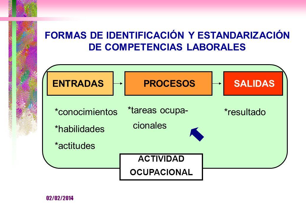 FORMAS DE IDENTIFICACIÓN Y ESTANDARIZACIÓN DE COMPETENCIAS LABORALES ENTRADASPROCESOSSALIDAS *conocimientos *habilidades *actitudes *tareas ocupa- cionales *resultado ACTIVIDAD OCUPACIONAL 02/02/2014