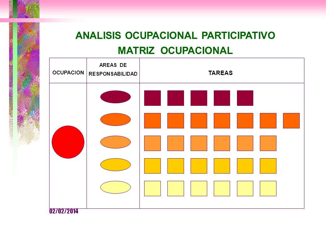 ANALISIS OCUPACIONAL PARTICIPATIVO MATRIZ OCUPACIONAL OCUPACION AREAS DE RESPONSABILIDAD TAREAS 02/02/2014