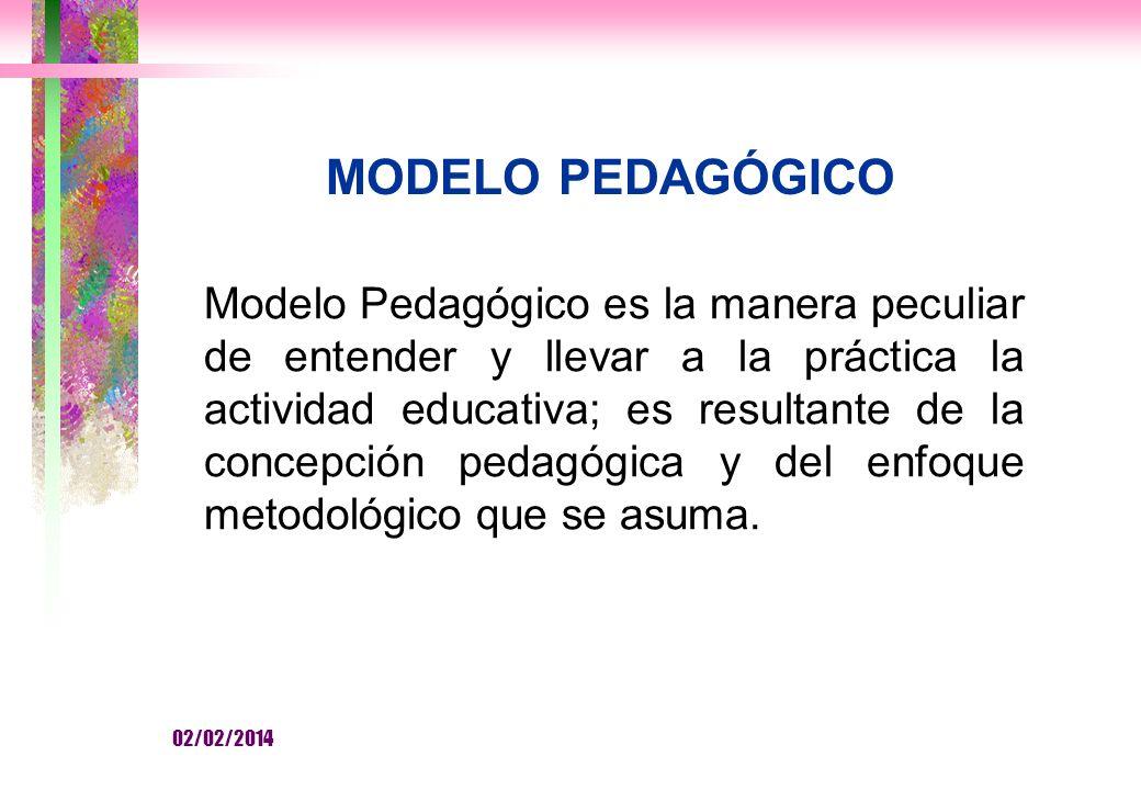 MODELO PEDAGÓGICO Modelo Pedagógico es la manera peculiar de entender y llevar a la práctica la actividad educativa; es resultante de la concepción pedagógica y del enfoque metodológico que se asuma.