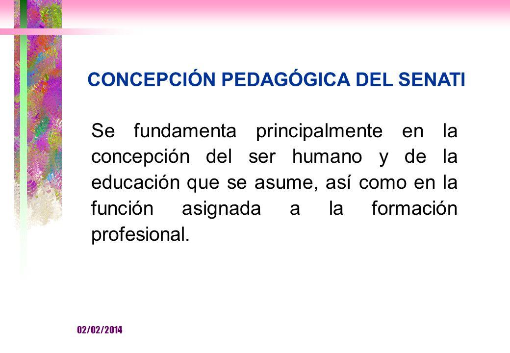 CONCEPCIÓN PEDAGÓGICA DEL SENATI Se fundamenta principalmente en la concepción del ser humano y de la educación que se asume, así como en la función asignada a la formación profesional.