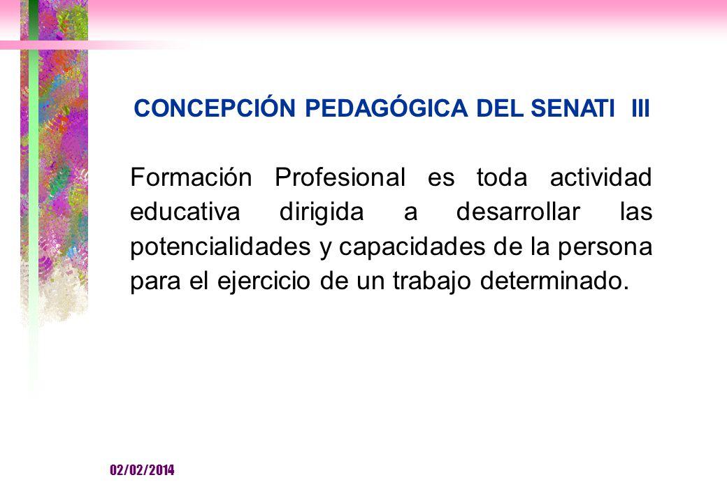 CONCEPCIÓN PEDAGÓGICA DEL SENATI III Formación Profesional es toda actividad educativa dirigida a desarrollar las potencialidades y capacidades de la persona para el ejercicio de un trabajo determinado.