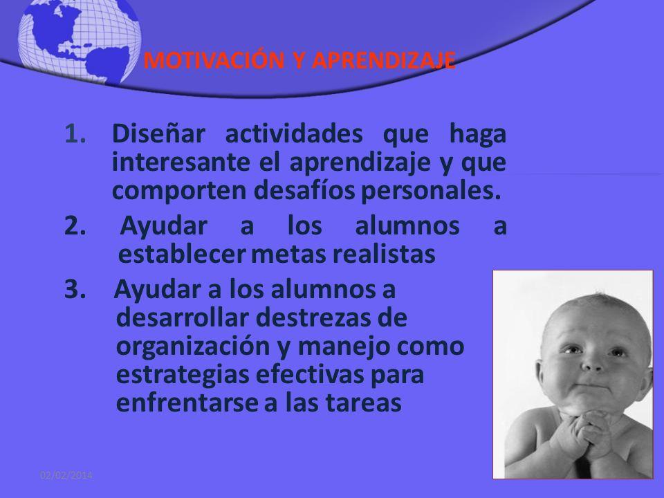 MOTIVACIÓN Y APRENDIZAJE La Motivación es conjunto de procesos que hacen que una persona inicie una acción (activación), se oriente hacia objetivo (di