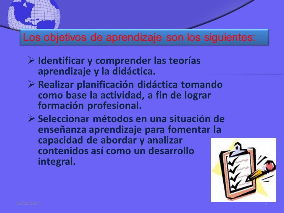 Identificar y comprender las teorías aprendizaje y la didáctica.