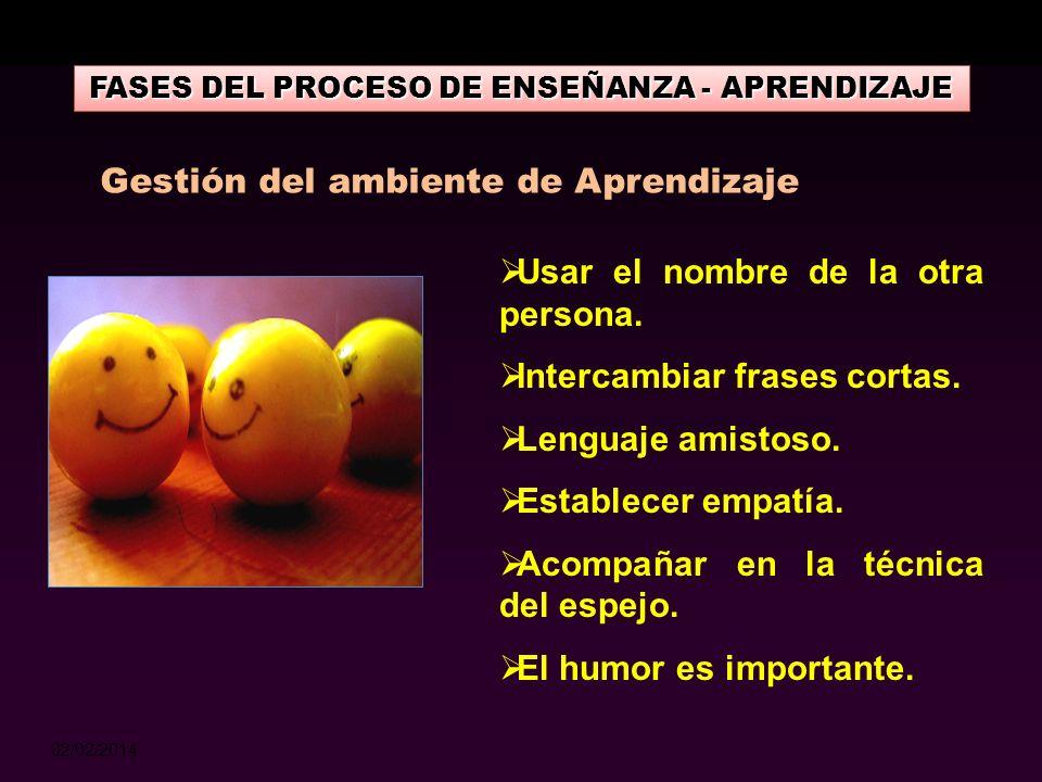 02/02/2014 FASES DEL PROCESO DE ENSEÑANZA - APRENDIZAJE Construir el confort comunicativo, un entendimiento cordial entre las personas que generarán c