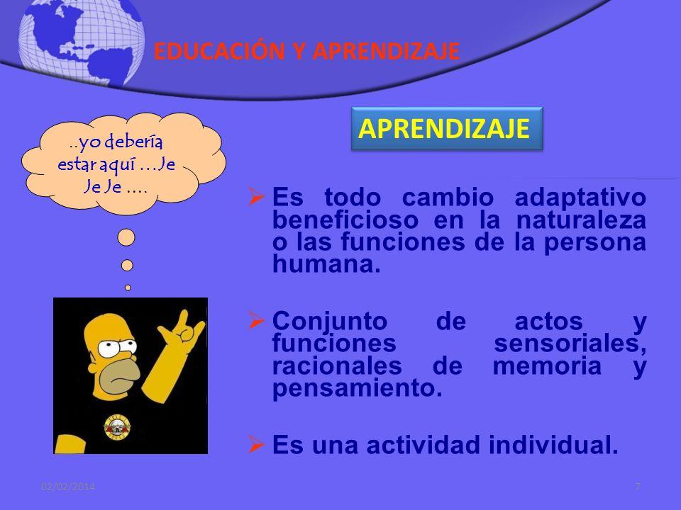 EDUCACIÓN Y APRENDIZAJE Es todo cambio adaptativo beneficioso en la naturaleza o las funciones de la persona humana.