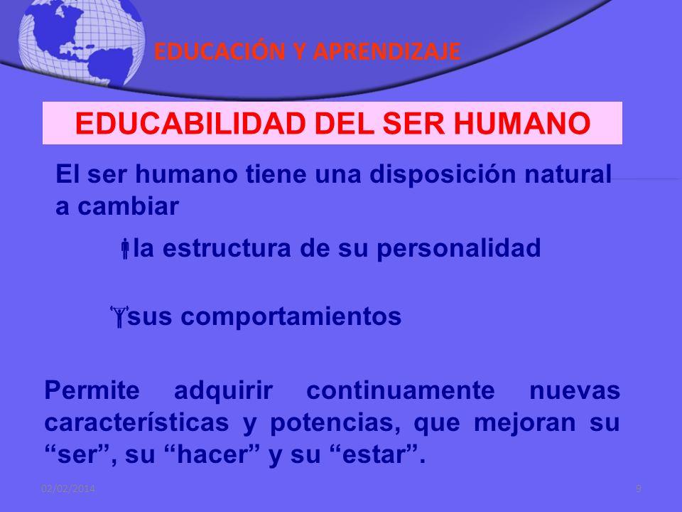EDUCACIÓN Y APRENDIZAJE 02/02/20148 SER HUMANO COMO REALIDAD EN PROCESO DE HACERSE El ser humano es una realidad dinámica que viene al mundo en forma