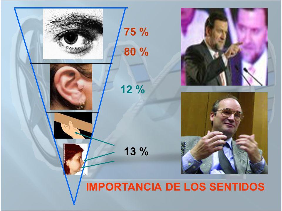 75 % 80 % 12 % IMPORTANCIA DE LOS SENTIDOS 13 %