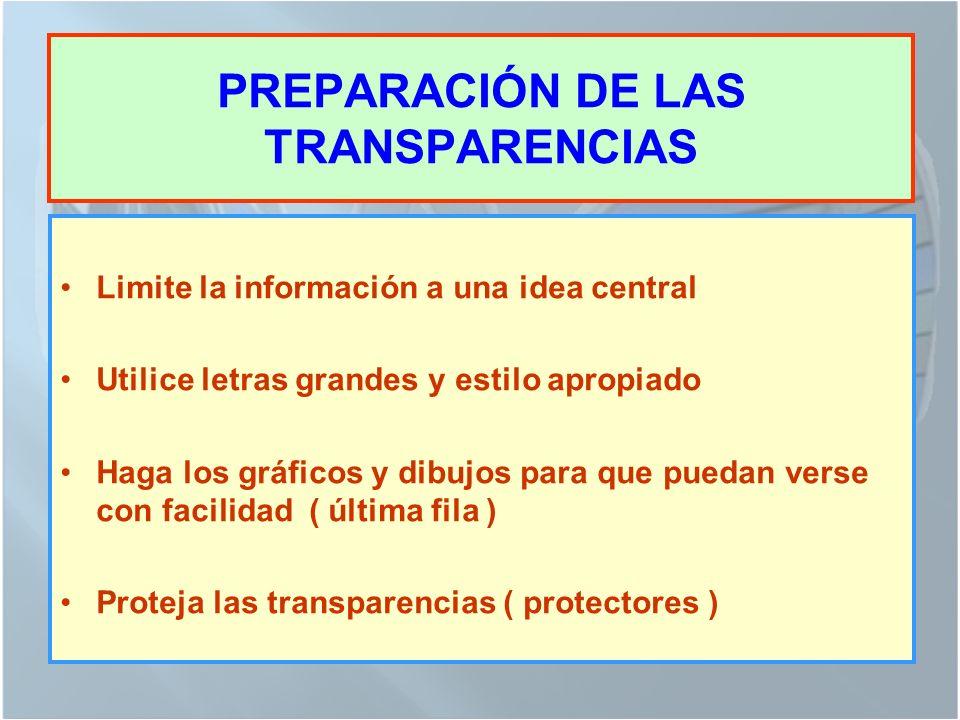 PREPARACIÓN DE LAS TRANSPARENCIAS Limite la información a una idea central Utilice letras grandes y estilo apropiado Haga los gráficos y dibujos para que puedan verse con facilidad ( última fila ) Proteja las transparencias ( protectores )