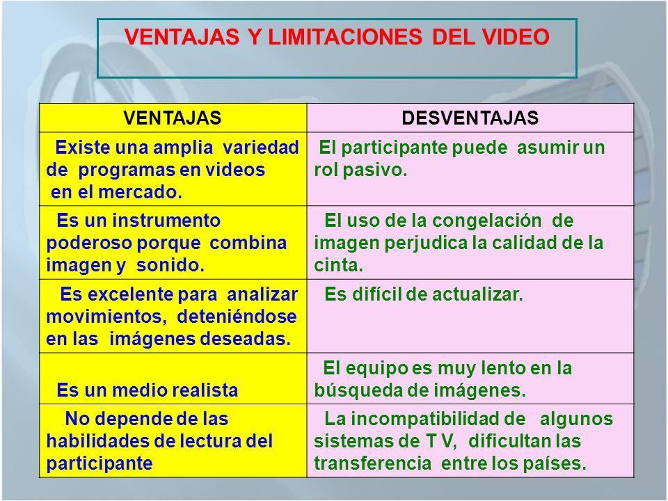 VENTAJAS Y LIMITACIONES DEL VIDEO VENTAJASDESVENTAJAS Existe una amplia variedad de programas en videos en el mercado.