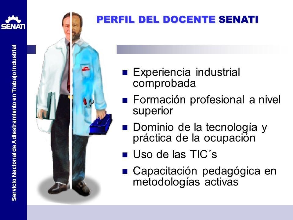 Servicio Nacional de Adiestramiento en Trabajo Industrial PERFIL DEL DOCENTE SENATI Experiencia industrial comprobada Formación profesional a nivel su