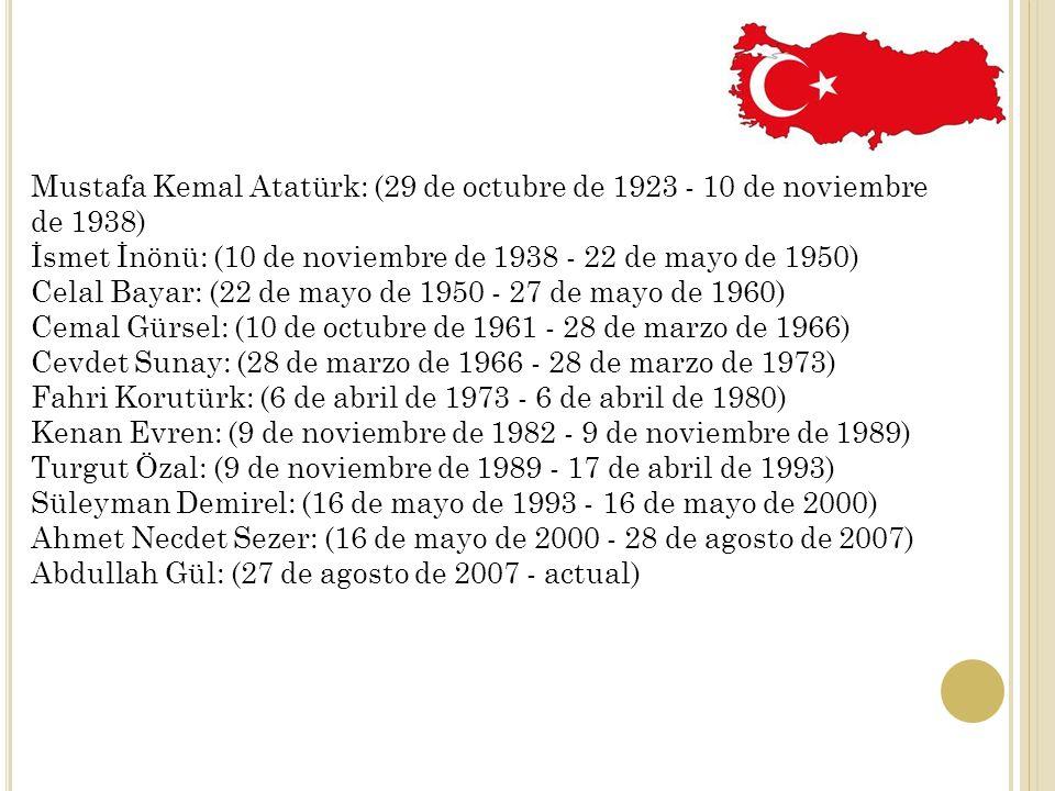 Mustafa Kemal Atatürk: (29 de octubre de 1923 - 10 de noviembre de 1938) İsmet İnönü: (10 de noviembre de 1938 - 22 de mayo de 1950) Celal Bayar: (22