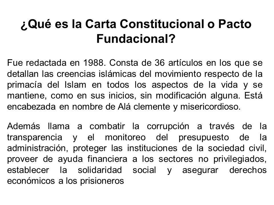 ¿Qué es la Carta Constitucional o Pacto Fundacional? Fue redactada en 1988. Consta de 36 artículos en los que se detallan las creencias islámicas del