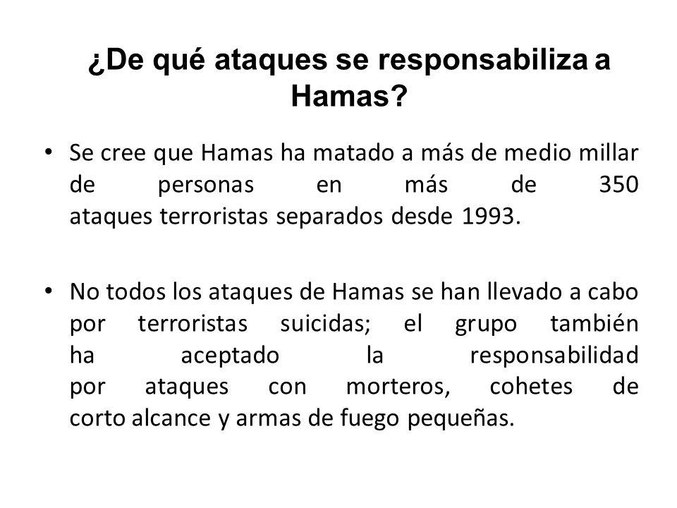 ¿De qué ataques se responsabiliza a Hamas? Se cree que Hamas ha matado a más de medio millar de personas en más de 350 ataques terroristas separados d