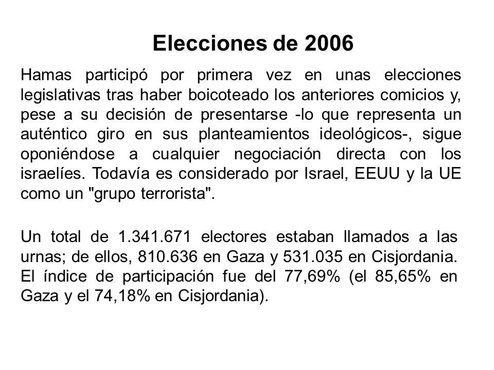 Elecciones de 2006 Un total de 1.341.671 electores estaban llamados a las urnas; de ellos, 810.636 en Gaza y 531.035 en Cisjordania. El índice de part