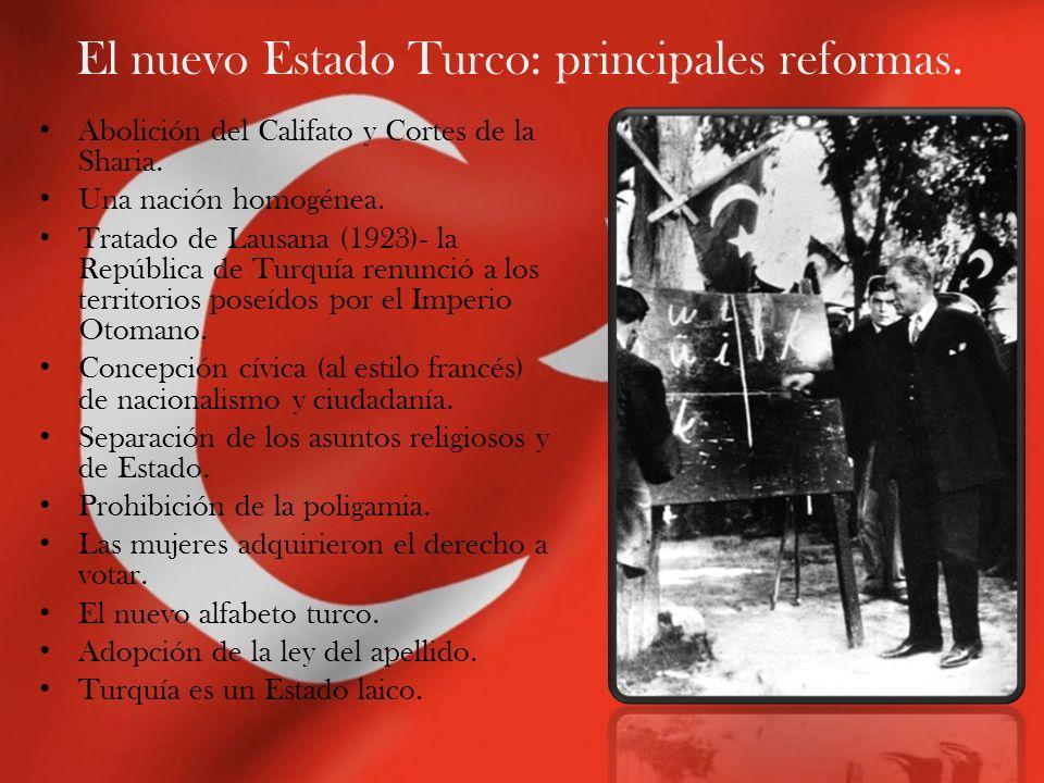 El nuevo Estado Turco: principales reformas. Abolición del Califato y Cortes de la Sharia. Una nación homogénea. Tratado de Lausana (1923)- la Repúbli