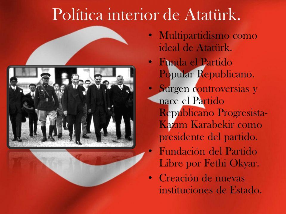 Política interior de Atatürk. Multipartidismo como ideal de Atatürk. Funda el Partido Popular Republicano. Surgen controversias y nace el Partido Repu