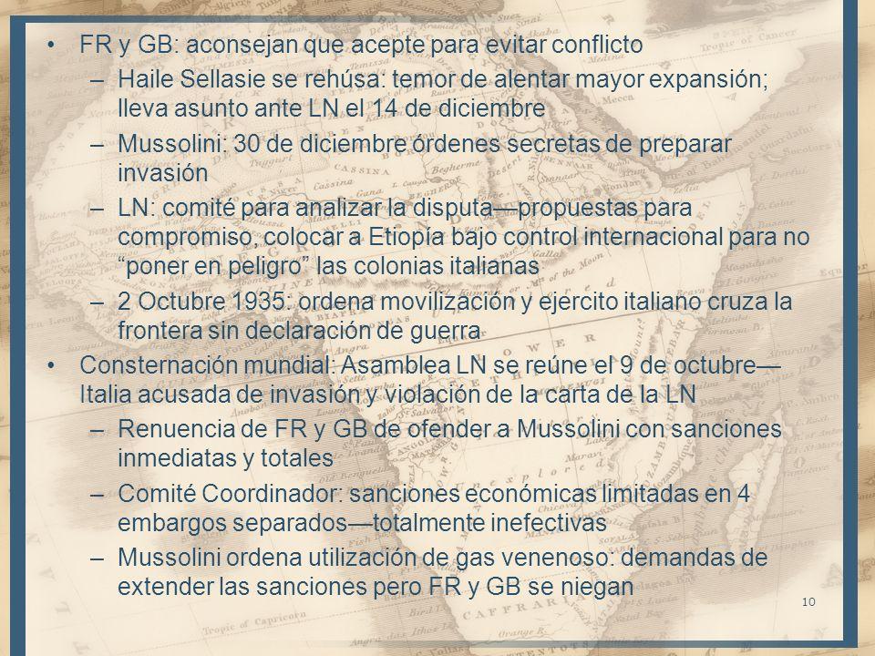 FR y GB: aconsejan que acepte para evitar conflicto –Haile Sellasie se rehúsa: temor de alentar mayor expansión; lleva asunto ante LN el 14 de diciemb