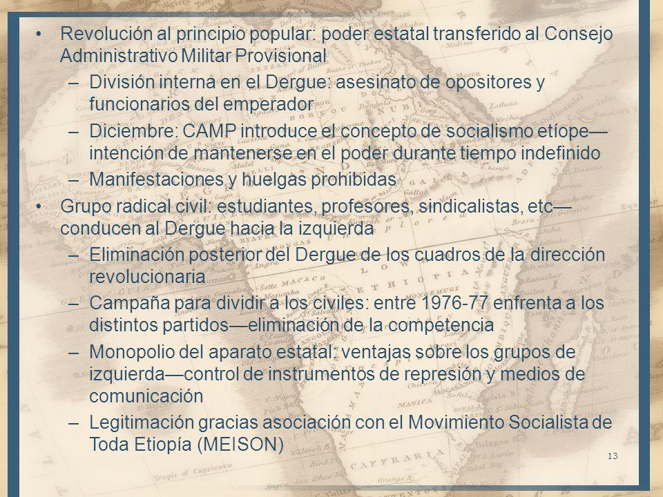 Revolución al principio popular: poder estatal transferido al Consejo Administrativo Militar Provisional –División interna en el Dergue: asesinato de