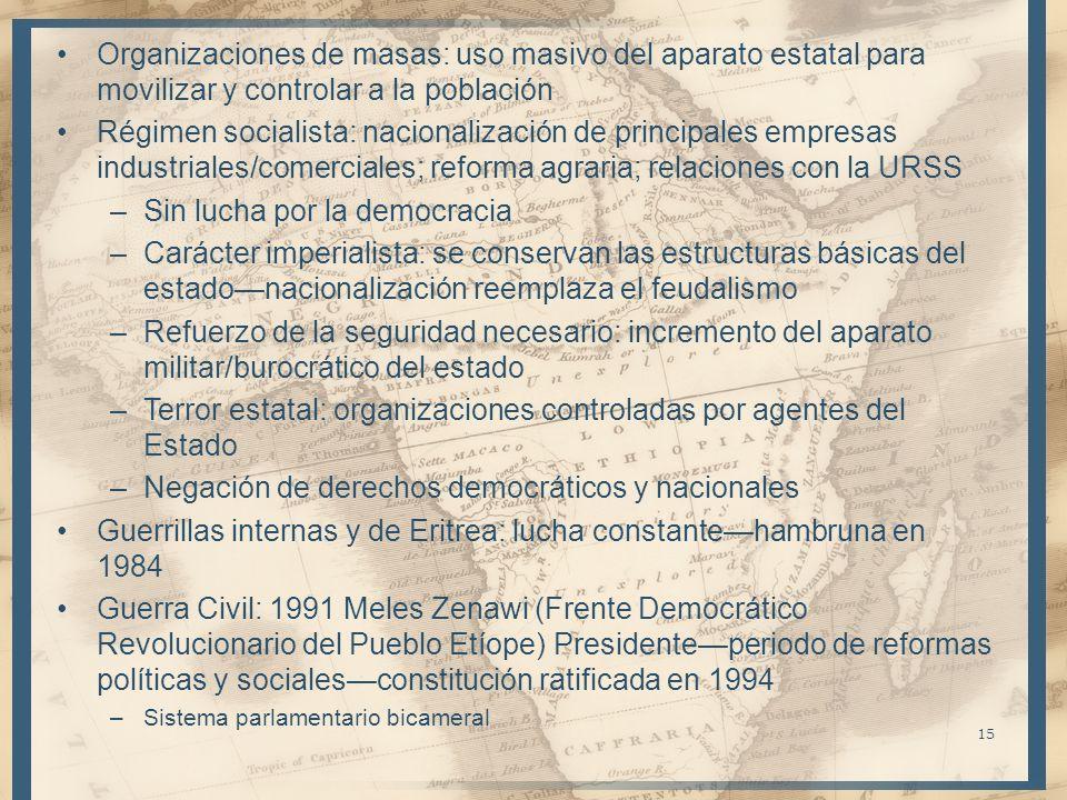 Organizaciones de masas: uso masivo del aparato estatal para movilizar y controlar a la población Régimen socialista: nacionalización de principales e