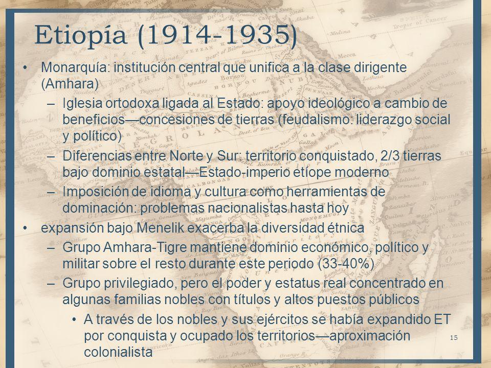 Monarquía: institución central que unifica a la clase dirigente (Amhara) –Iglesia ortodoxa ligada al Estado: apoyo ideológico a cambio de beneficiosco