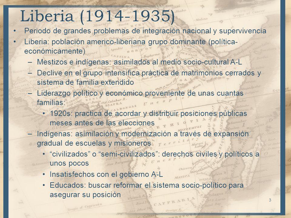 Liberia (1914-1935) Periodo de grandes problemas de integración nacional y supervivencia Liberia: población americo-liberiana grupo dominante (polític
