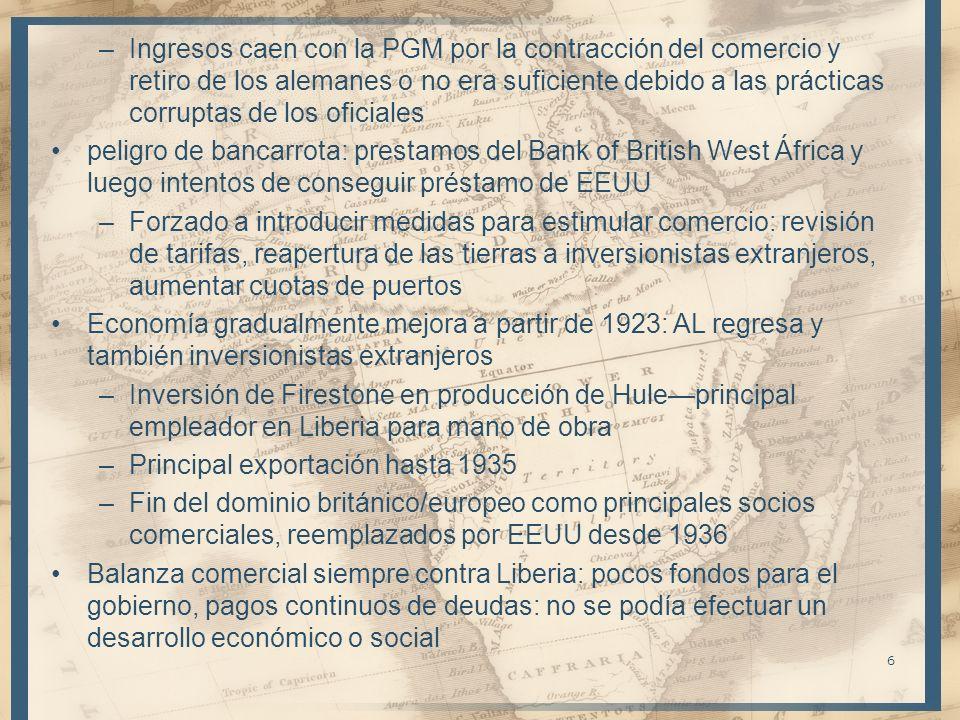 –Ingresos caen con la PGM por la contracción del comercio y retiro de los alemanes o no era suficiente debido a las prácticas corruptas de los oficial