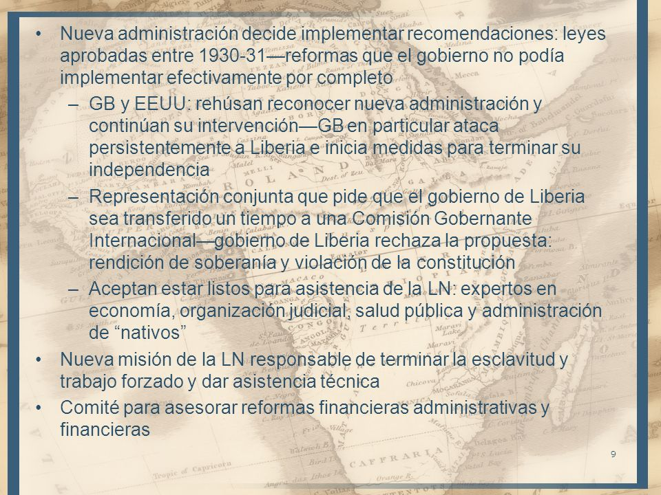 Nueva administración decide implementar recomendaciones: leyes aprobadas entre 1930-31reformas que el gobierno no podía implementar efectivamente por