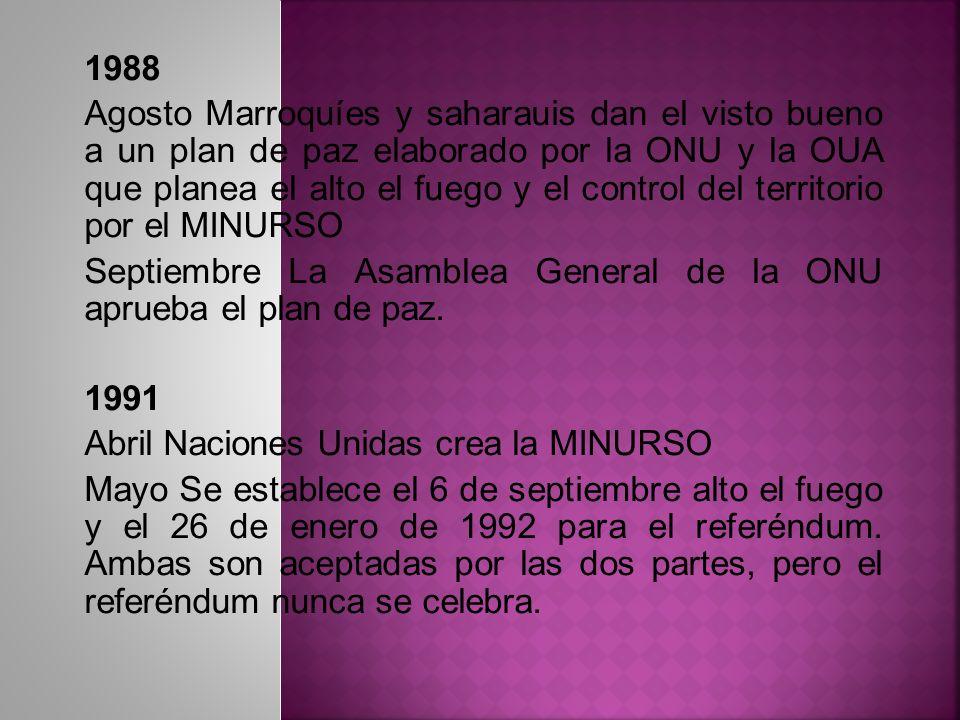 1988 Agosto Marroquíes y saharauis dan el visto bueno a un plan de paz elaborado por la ONU y la OUA que planea el alto el fuego y el control del terr