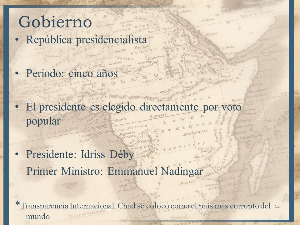 15 Gobierno República presidencialista Periodo: cinco años El presidente es elegido directamente por voto popular Presidente: Idriss Déby Primer Minis