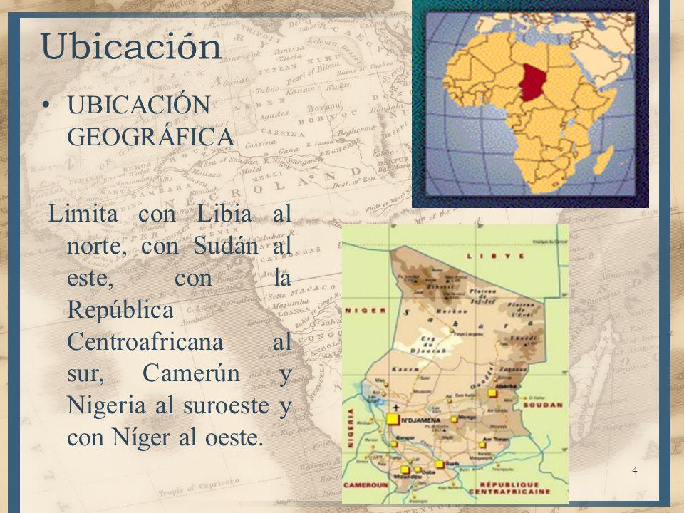 4 Ubicación UBICACIÓN GEOGRÁFICA Limita con Libia al norte, con Sudán al este, con la República Centroafricana al sur, Camerún y Nigeria al suroeste y