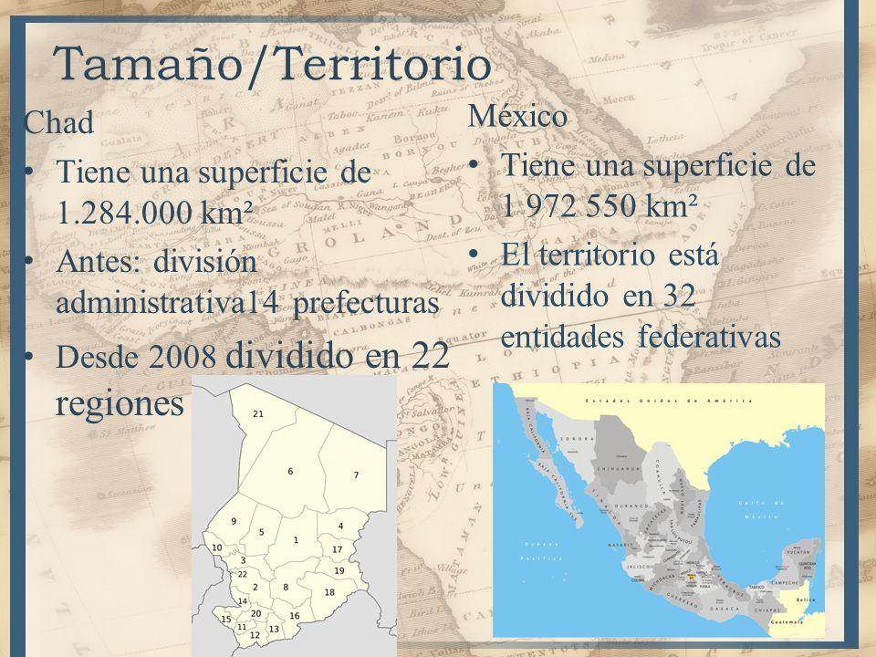 6 Tamaño/Territorio Chad Tiene una superficie de 1.284.000 km² Antes: división administrativa14 prefecturas Desde 2008 dividido en 22 regiones México