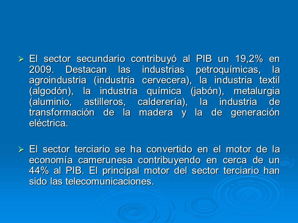El sector secundario contribuyó al PIB un 19,2% en 2009. Destacan las industrias petroquímicas, la agroindustria (industria cervecera), la industria t
