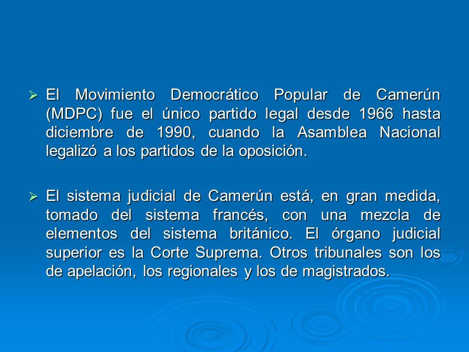 El Movimiento Democrático Popular de Camerún (MDPC) fue el único partido legal desde 1966 hasta diciembre de 1990, cuando la Asamblea Nacional legaliz