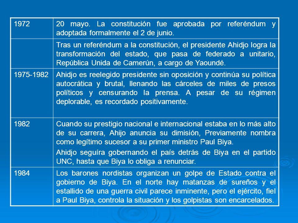 197220 mayo. La constitución fue aprobada por referéndum y adoptada formalmente el 2 de junio. Tras un referéndum a la constitución, el presidente Ahi
