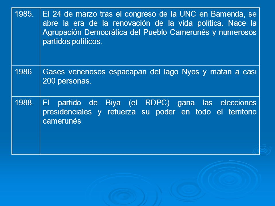 1985.El 24 de marzo tras el congreso de la UNC en Bamenda, se abre la era de la renovación de la vida política. Nace la Agrupación Democrática del Pue