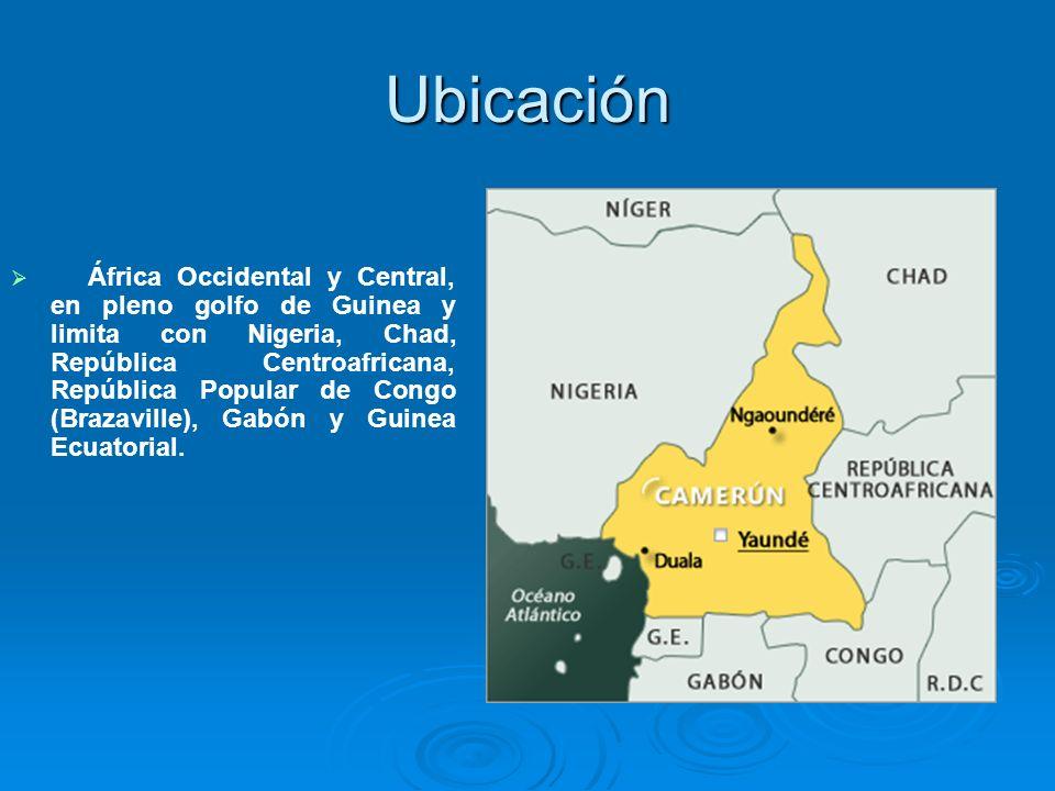 Ubicación África Occidental y Central, en pleno golfo de Guinea y limita con Nigeria, Chad, República Centroafricana, República Popular de Congo (Braz