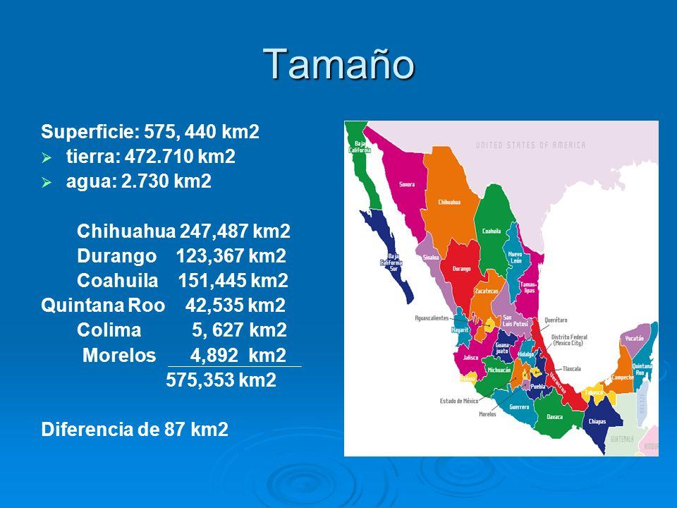 Tamaño Superficie: 575, 440 km2 tierra: 472.710 km2 agua: 2.730 km2 Chihuahua 247,487 km2 Durango 123,367 km2 Coahuila 151,445 km2 Quintana Roo 42,535