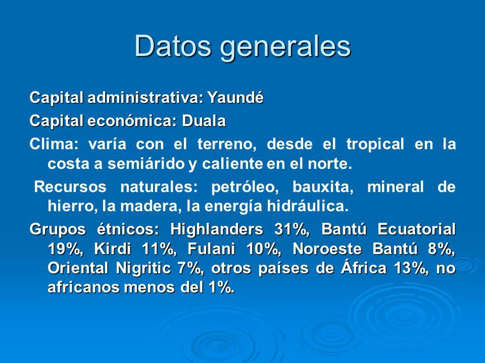 Datos generales Capital administrativa: Yaundé Capital económica: Duala Clima: varía con el terreno, desde el tropical en la costa a semiárido y calie