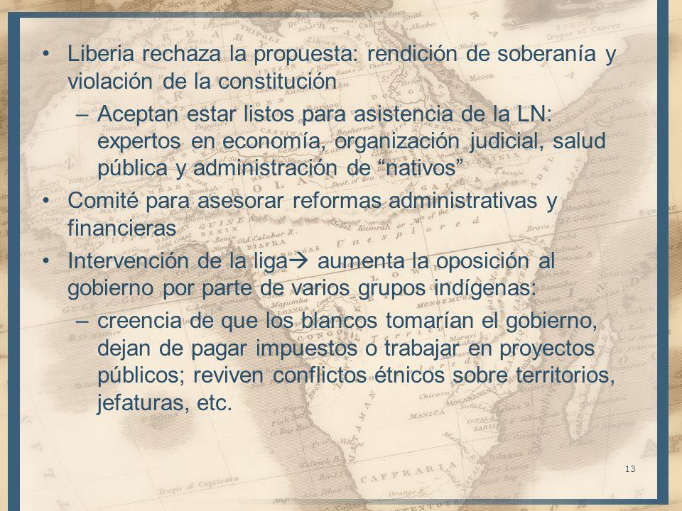 Liberia rechaza la propuesta: rendición de soberanía y violación de la constitución –Aceptan estar listos para asistencia de la LN: expertos en econom