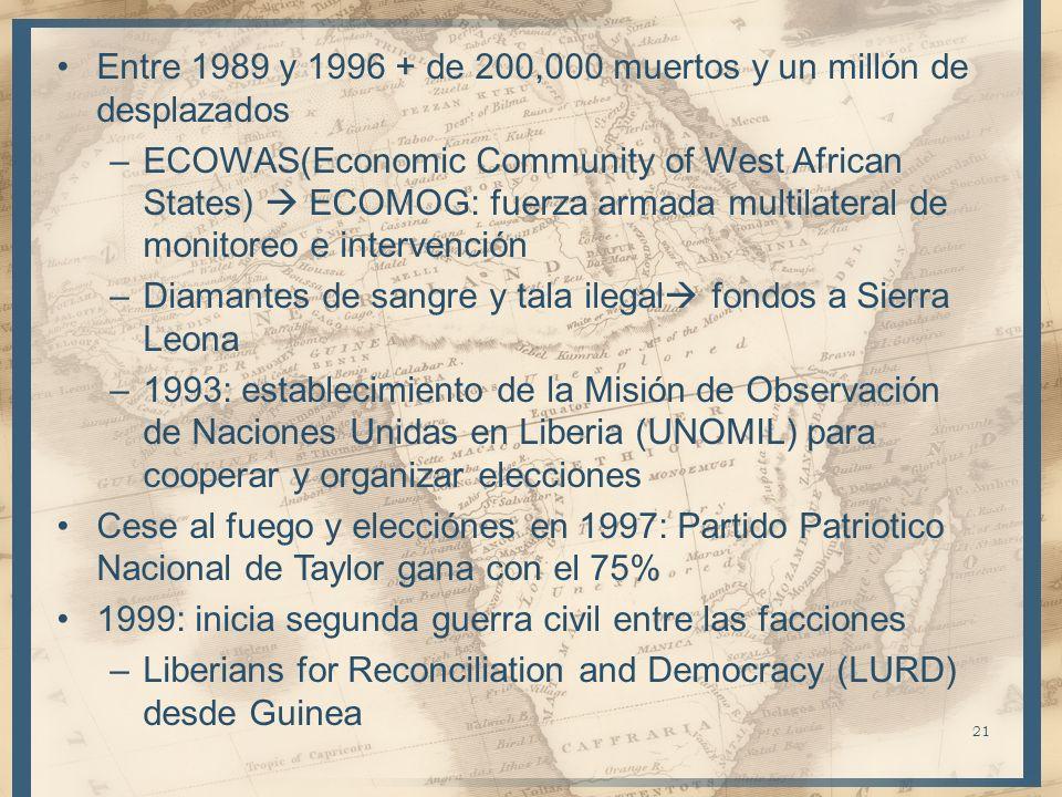 Entre 1989 y 1996 + de 200,000 muertos y un millón de desplazados –ECOWAS(Economic Community of West African States) ECOMOG: fuerza armada multilatera