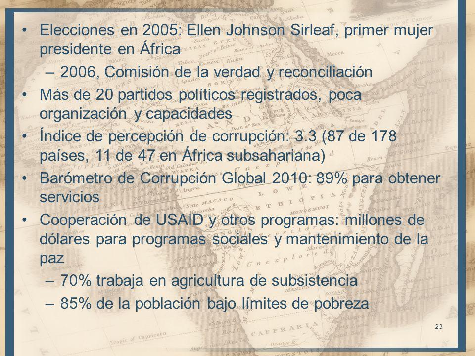 Elecciones en 2005: Ellen Johnson Sirleaf, primer mujer presidente en África –2006, Comisión de la verdad y reconciliación Más de 20 partidos político