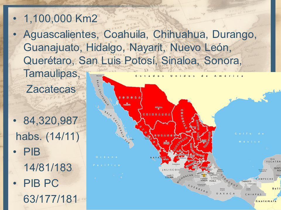 1,100,000 Km2 Aguascalientes, Coahuila, Chihuahua, Durango, Guanajuato, Hidalgo, Nayarit, Nuevo León, Querétaro, San Luis Potosí, Sinaloa, Sonora, Tam