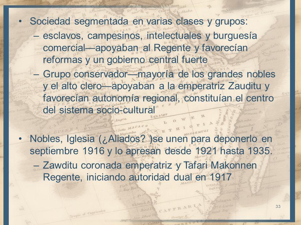 Sociedad segmentada en varias clases y grupos: –esclavos, campesinos, intelectuales y burguesía comercialapoyaban al Regente y favorecían reformas y u