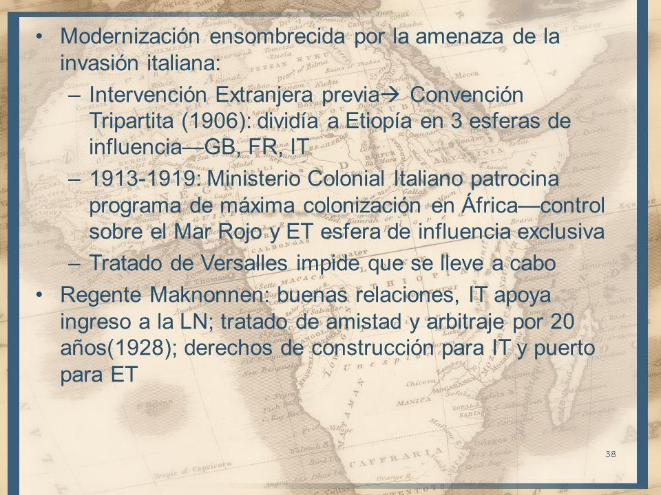Modernización ensombrecida por la amenaza de la invasión italiana: –Intervención Extranjera previa Convención Tripartita (1906): dividía a Etiopía en