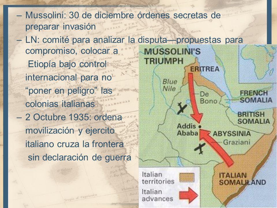 –Mussolini: 30 de diciembre órdenes secretas de preparar invasión –LN: comité para analizar la disputapropuestas para compromiso, colocar a Etiopía ba