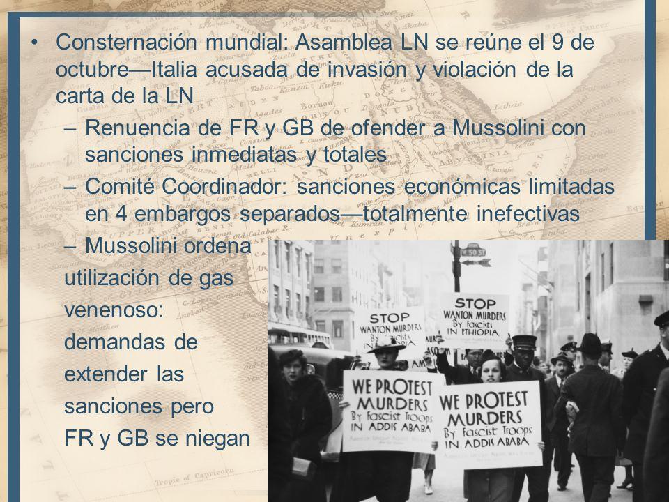 Consternación mundial: Asamblea LN se reúne el 9 de octubreItalia acusada de invasión y violación de la carta de la LN –Renuencia de FR y GB de ofende