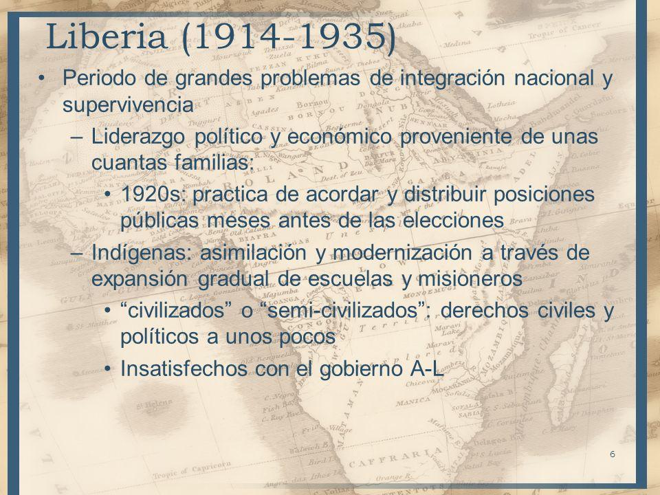 Liberia (1914-1935) Periodo de grandes problemas de integración nacional y supervivencia –Liderazgo político y económico proveniente de unas cuantas f