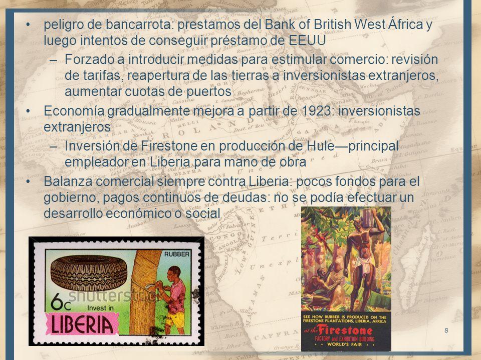 peligro de bancarrota: prestamos del Bank of British West África y luego intentos de conseguir préstamo de EEUU –Forzado a introducir medidas para est