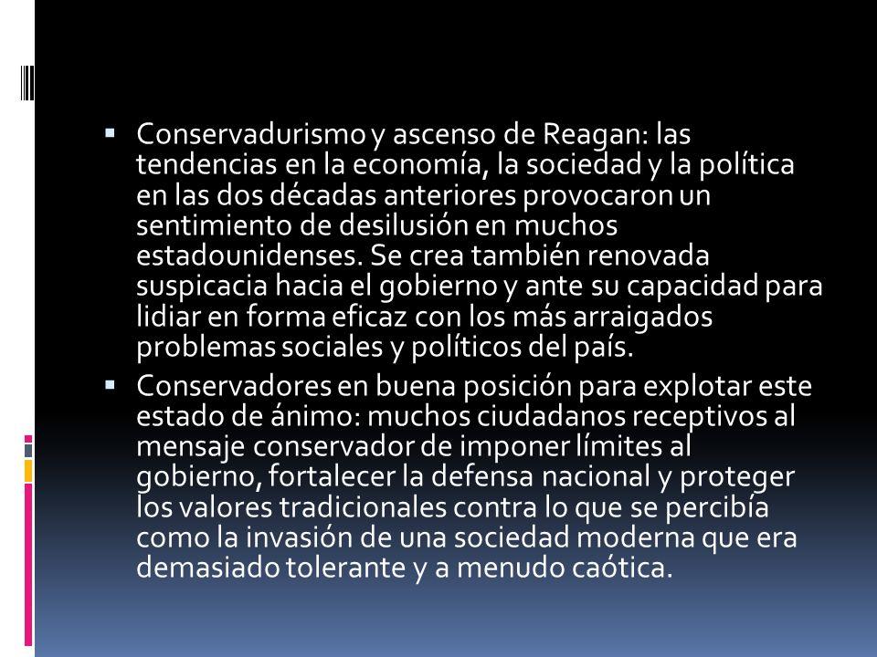 Conservadurismo y ascenso de Reagan: las tendencias en la economía, la sociedad y la política en las dos décadas anteriores provocaron un sentimiento