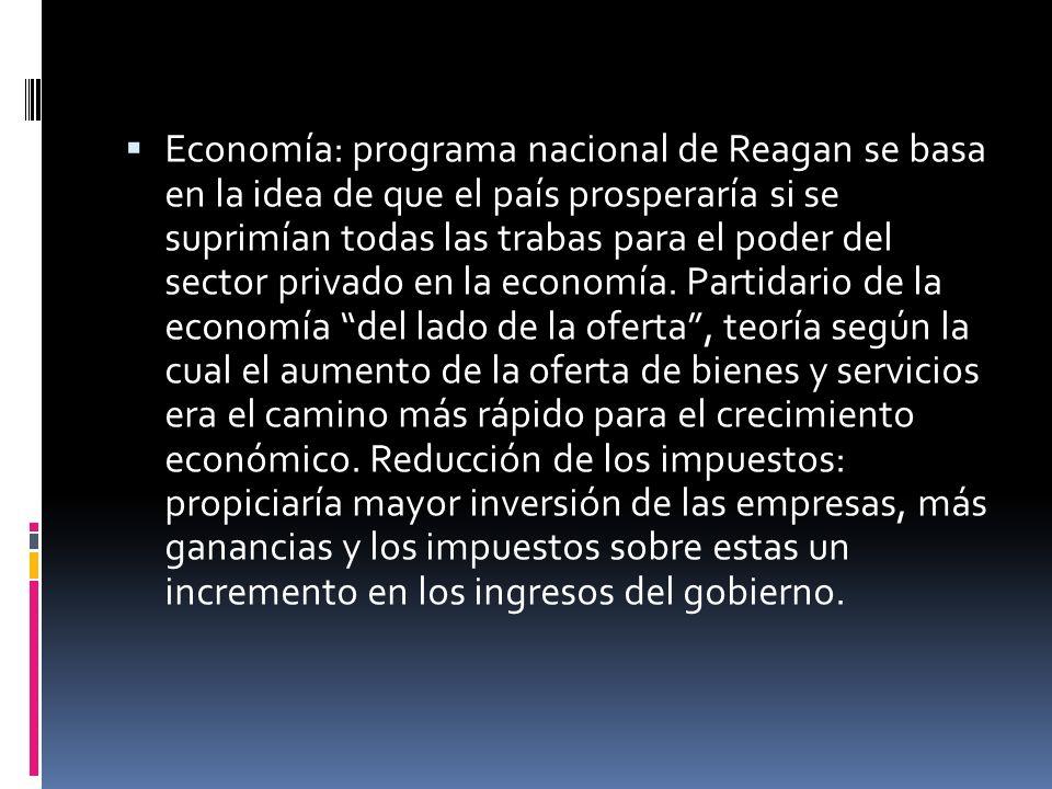 Economía: programa nacional de Reagan se basa en la idea de que el país prosperaría si se suprimían todas las trabas para el poder del sector privado